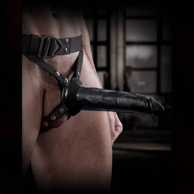 Command by Sir Richards Harness with Hollow Strap-On In Black