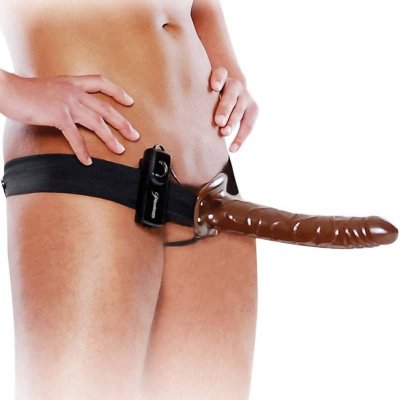 "Fetish Fantasy 10"" Chocolate Dream Vibrating Hollow Strap-On BN"