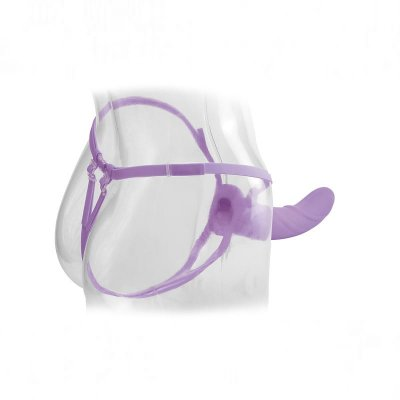 Fetish Fantasy Elite Vibrating 8 inch Hollow Strap-On In Purple