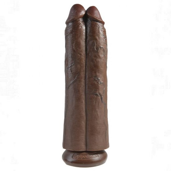 King Cock 11 inch Two Cocks One Hole In Brown