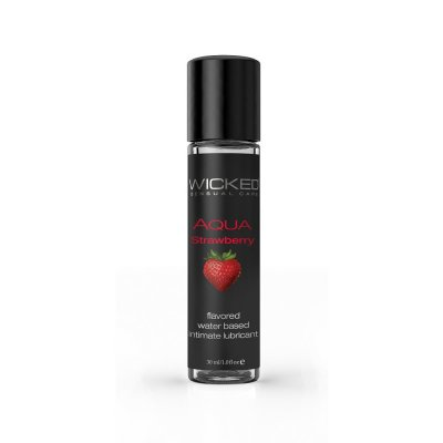 Wicked Aqua Flavored Water Based Lubricant Strawberry 1 Oz