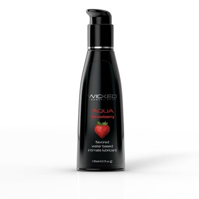 Wicked Aqua Flavored Water Based Lubricant Strawberry 4 Oz